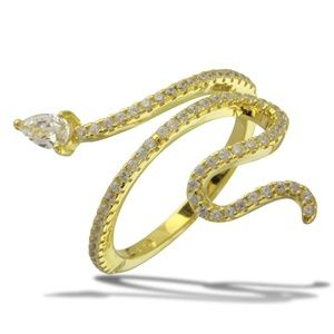 Jewelry - Sterling Silver Gold Plated Snake Design CZ RING